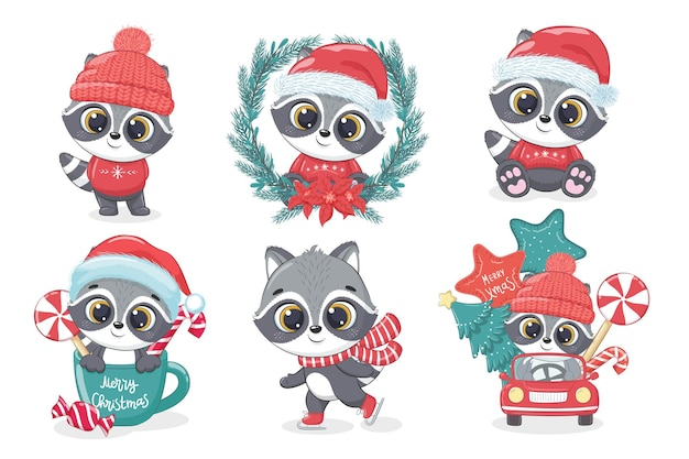 A collection of cute raccoon for the new year and christmas. vector illustration of a cartoon.