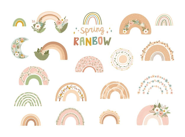 Collection cute rainbows with flowers in pastel colors isolated