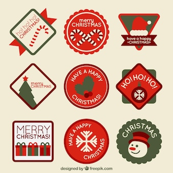 Collection of cute retro christmas stickers Free Vector