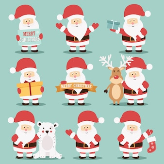 Collection of cute santa claus characters with reindeer