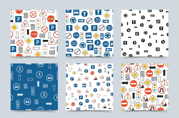 Collection cute seamless patterns with road signs and traffic lights on a white background.