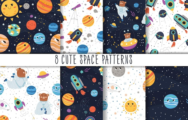 Collection of cute seamless patterns with space concept