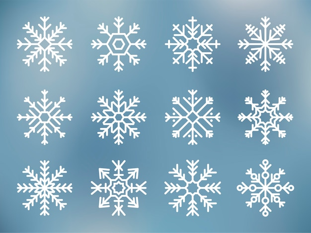 Collection of cute snowflake icons