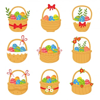 Collection of cute straw baskets full of easter eggs.