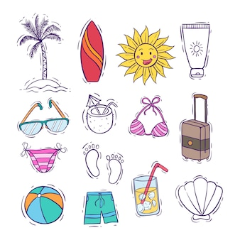 Collection of cute summer icons or elements with colored doodle style