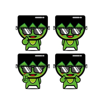 Collection of cute summer zombie sets vector illustration of flat cartoon face character mascot