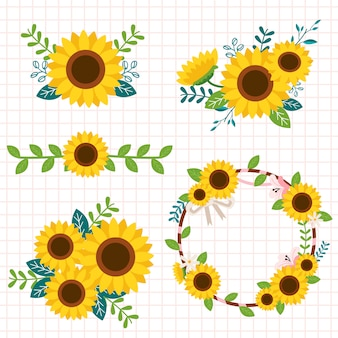The collection of cute sunflower in the boquet and set