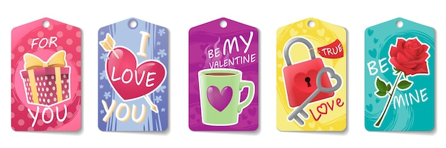 Collection of cute tags for valentine's day isolated on white