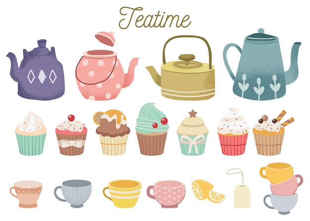 The collection of cute teatime set.