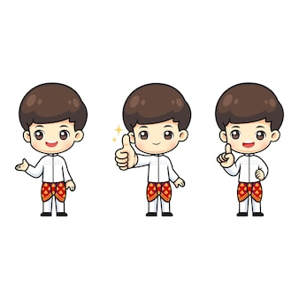 Collection of cute thai boy wear thailand traditional costume, kawaii mascot cartoon character in many action for  illustration