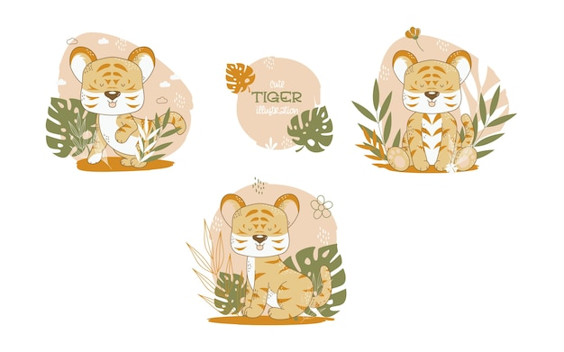 Collection of cute tigers cartoon animals. vector illustration.