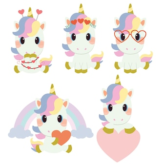 The collection of cute unicorn with valentine's day theme