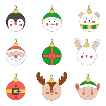 Collection of cute vector christmas balls in cartoon style.