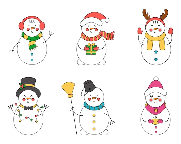 Collection of cute vector christmas snowmen in cartoon style.