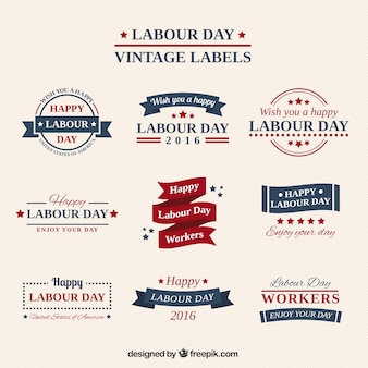 Collection cute vintage labor day stickers