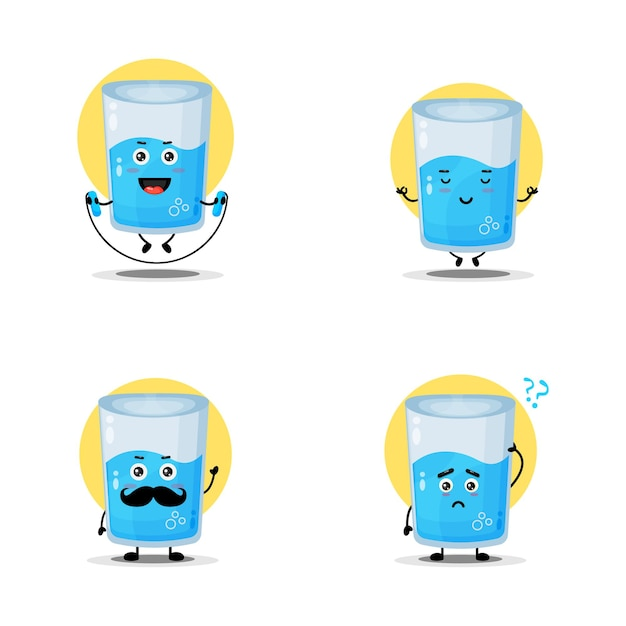 Collection of cute water glass characters