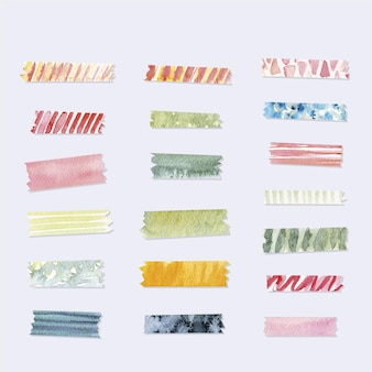 Collection of cute watercolor washi tapes