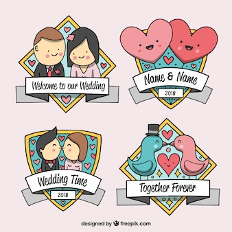Collection of cute wedding labels