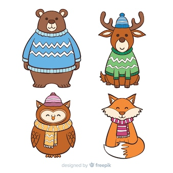 Collezione di simpatici animaletti invernali