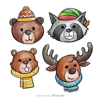 Collection of cute winter animales