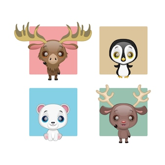 Collection of cute winter animals