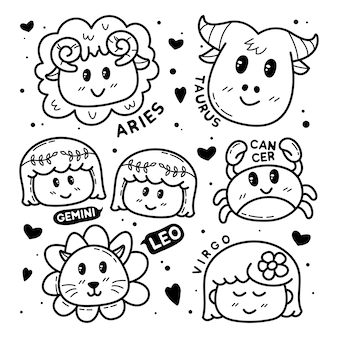 Collection of cute zodiac doodle