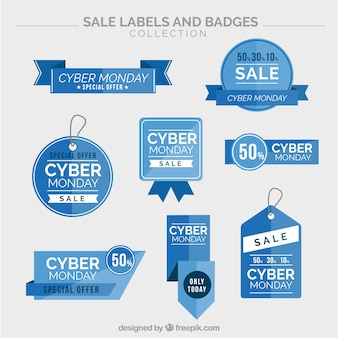 Collection of cyber monday blue stickers Free Vector