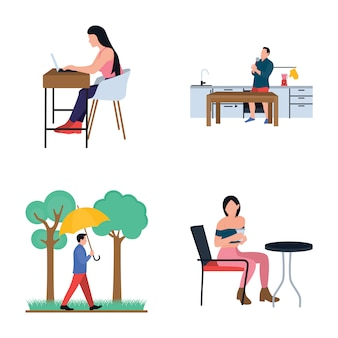 Collection of daily life routine flat icons