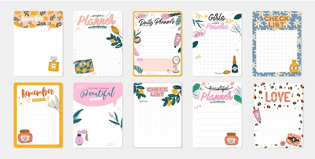 Collection of daily planner, note paper, to do list, stickers templates decorated by cute beauty cosmetic illustrations