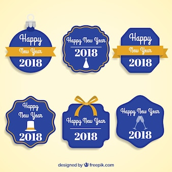 Collection of dark blue new year badges