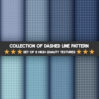 青いセットのコレクション破線パターン。