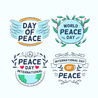 Collection of day of peace labels