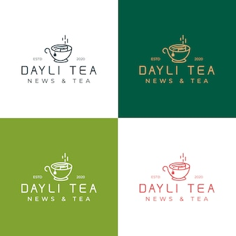 Collection dayli tea logo template. logo with the concept of a blend of newspaper and tea