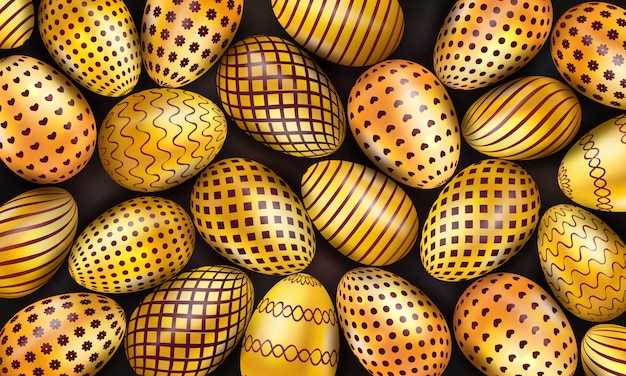 Collection of decorated golden easter eggs on black background