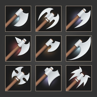 Collection of decoration weapon for games. set of silver cartoon axes.