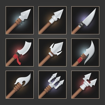 Collection of decoration weapon for games. set of silver weapons.