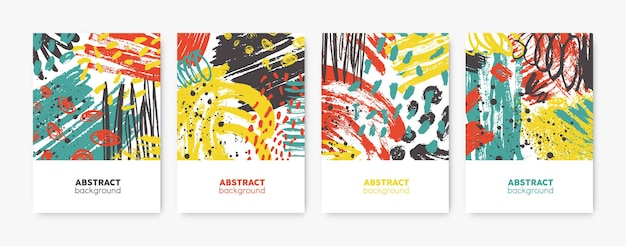 Collection of decorative card templates with bright colored abstract stains, blots, brushstrokes, scribble, paint traces