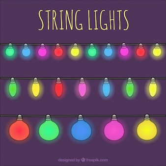 Collection of decorative colored string lights