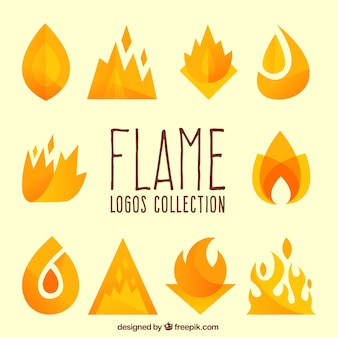 Collection of decorative flames for logos