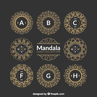 Collection of decorative golden mandalas