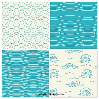 Collection of decorative hand drawn waves patterns