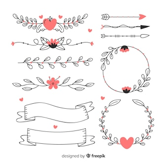 Collection of decorative hand drawn wedding ornaments