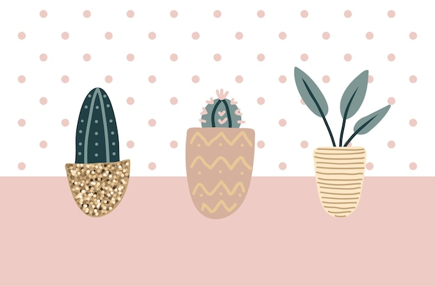 Collection of decorative houseplants. bundle of trendy plants growing in pots. set of beautiful natural home decorations. flat colorful vector illustration.
