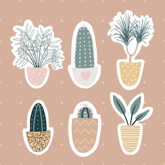 Collection of decorative houseplants stickers isolated on white background. bundle of trendy plants growing in pots. set of beautiful natural home decorations. flat colorful  illustration.