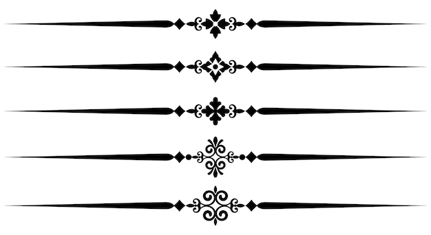 Collection of decorative line elements, set of beautiful ornamental rules for design borde