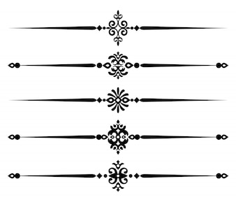 Collection decorative line elements, set of beautiful ornamental rules
