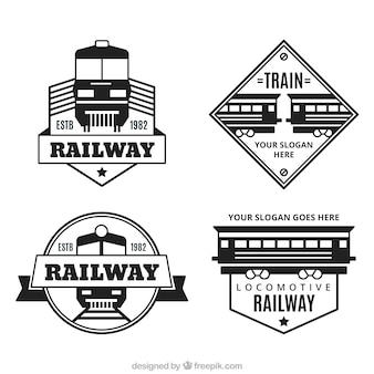Collection of decorative logos with trains in flat design