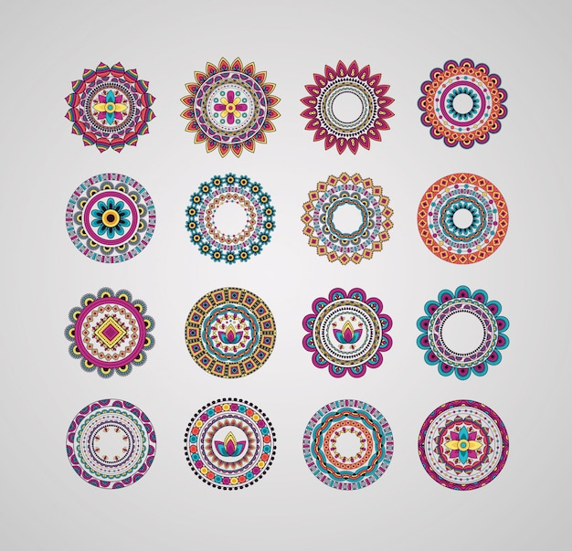 Collection decorative mandalas floral bohemian