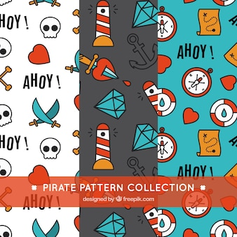 Collection of decorative pirate patterns