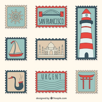 Collection of decorative post stamps in retro style